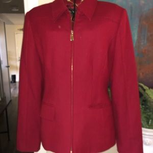 Red form fitting business jacket.